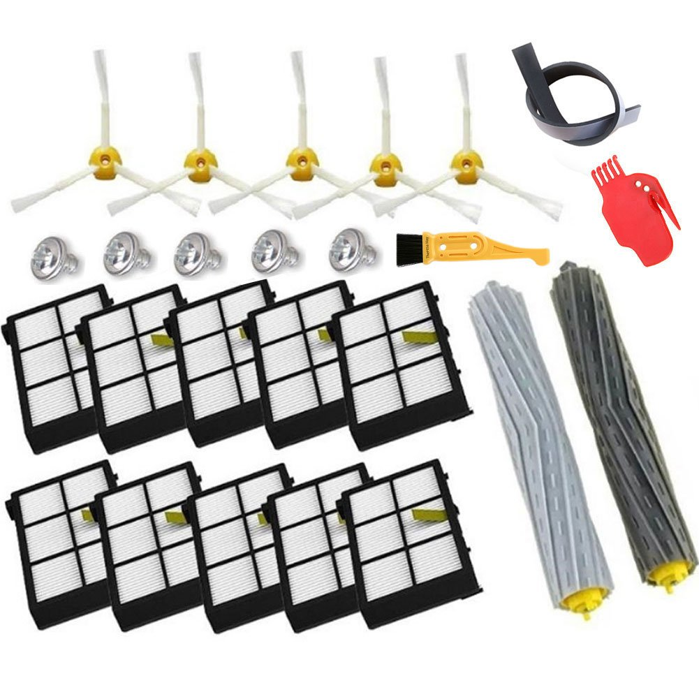 Theresa Hay Tangle-Free Debris Extractor Set & Hepa Filter & Side Brushes for iRobot Roomba 800 900 Series 805 860 870 871 880 980 Vacuum Cleaner Parts (Style 1)