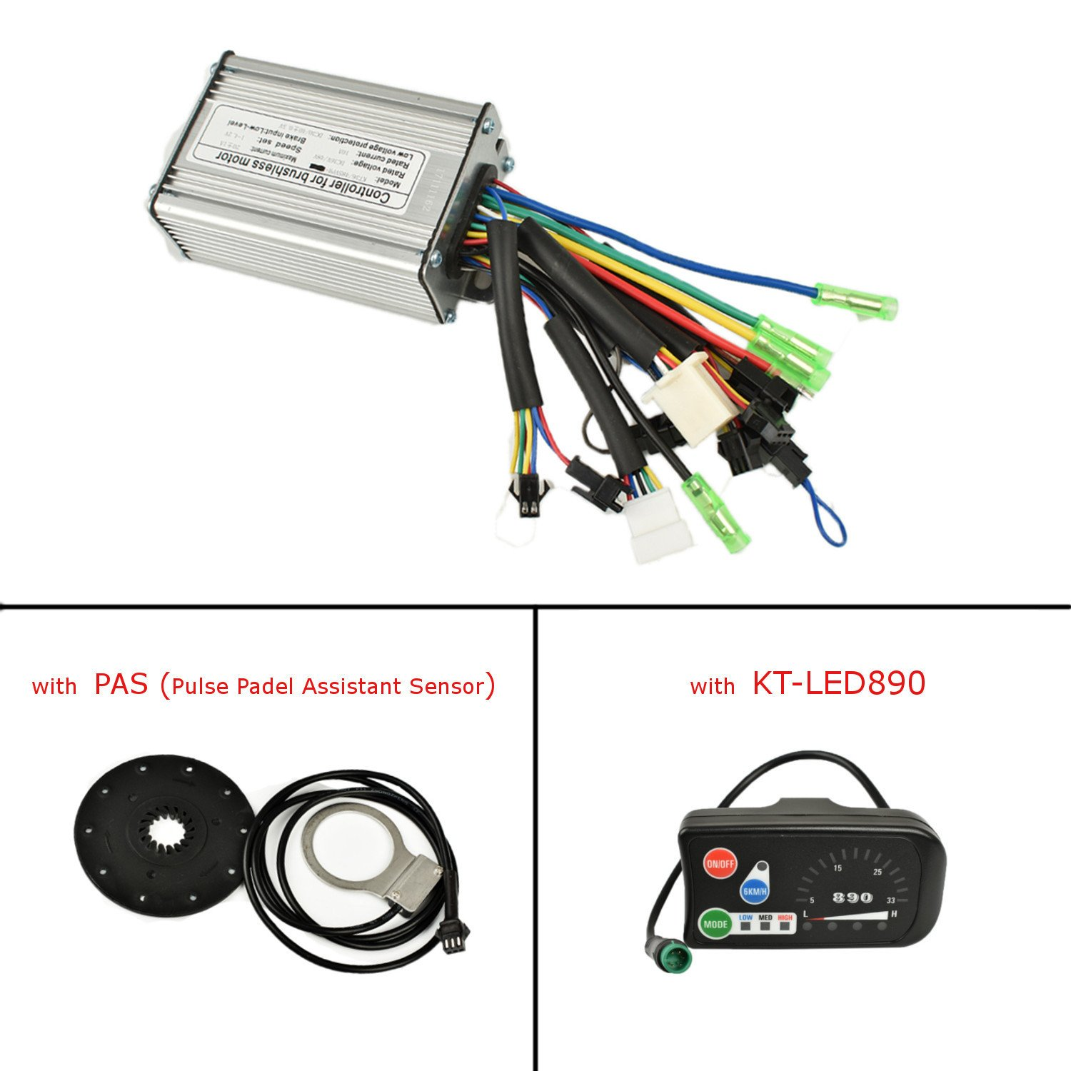 Pswpower 24 V 36 V 250 W 6 mosfets 15 A Brushless DC Sine Wave Controller mit kt-led890 LCD