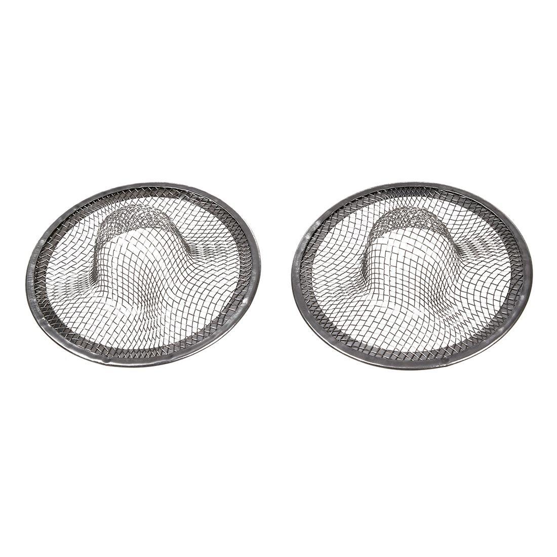 SODIAL(R) Stainless Steel Drainer Basin Filter Mesh Sink Strainer 7cm Dia 2PCS