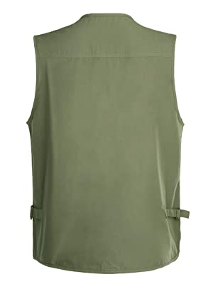Gihuo Men's Summer Cotton Leisure Outdoor Pockets Fish Photo Journalist Vest Plus Size (X-Large, Army Green) (Color: Army Green, Tamaño: X-Large)