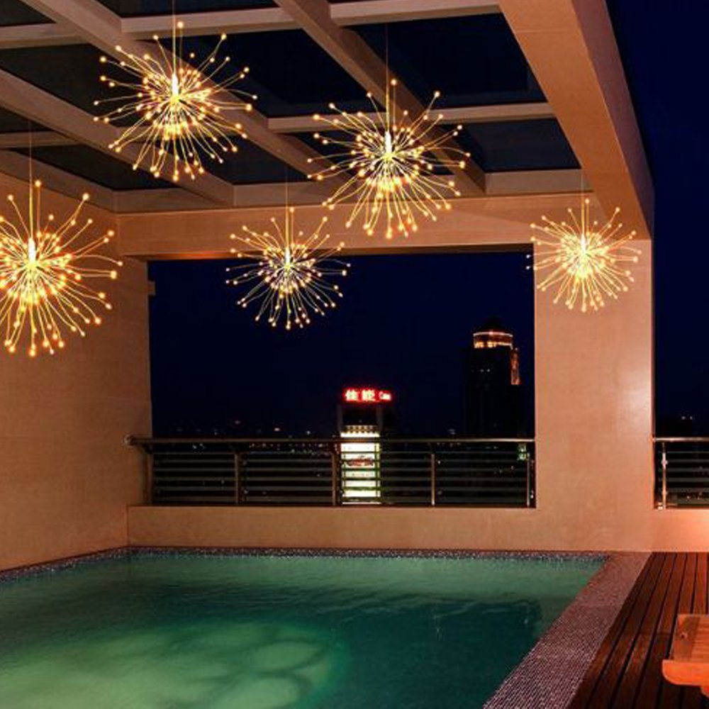 Birthday Corridor Patio Dreamworth 2 Pack Hanging Starburst Light Wedding Parties Garden 120 LED String Light Bouquet Shape Firework Battery Operated with Remote Control for Christmas Bedroom