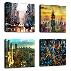 "Canvas Wall Art Modern NY City Skyline Painting New York Skyscraper Abstract Painting Pictures Prints Street Art for Office Wall Decor 12"" x 12"" x 4 Pieces Contemporary Wall Art for Home Decoration"