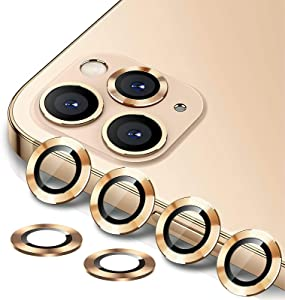 [6 Pack] YWXTW Camera Lens Protector Compatible with iPhone 12 Pro Max 6.7 inch, [Installation Tray] Aluminum Alloy Tempered Glass Camera Circle Cover (Gold)