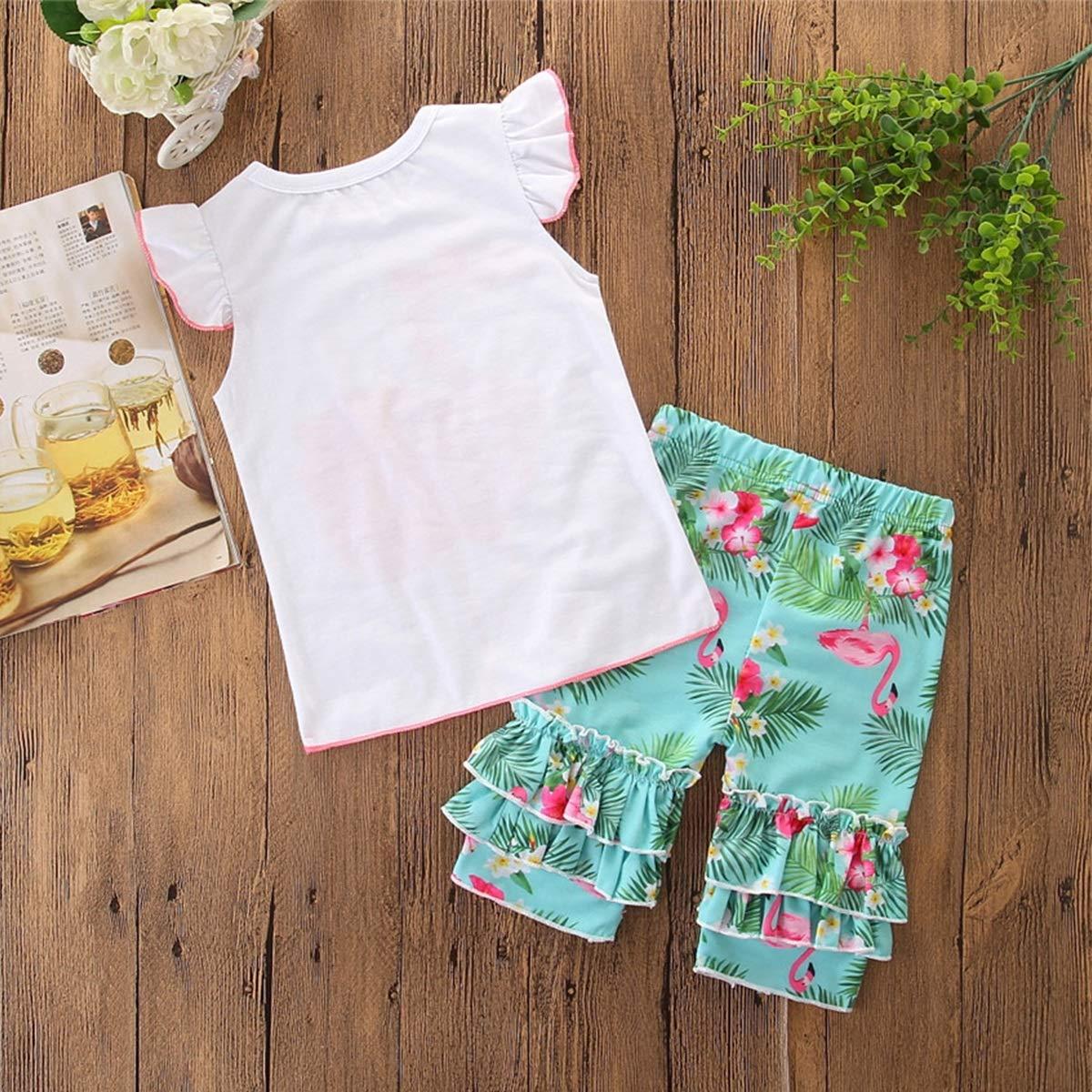 Flounced Flared Rim Pants 2pcs Baby Girls Frilled Pink Swan Set Solid T-Shirt