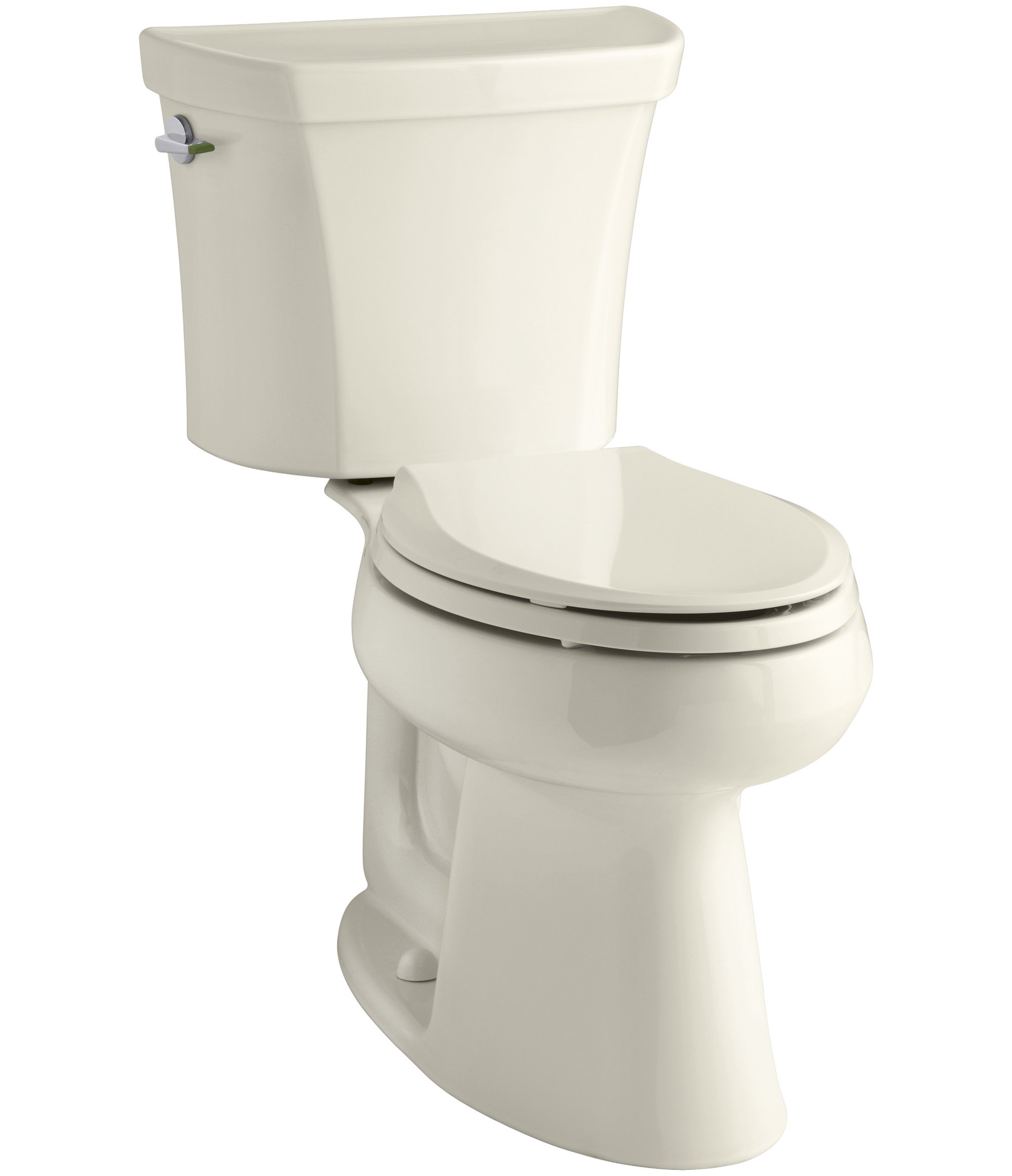 KOHLER K-3989-47 Wellworth Highline Two-Piece Dual-Flush Elongated Toilet with Class Five Flush System and Left-Hand Trip Lever, Almond by Kohler