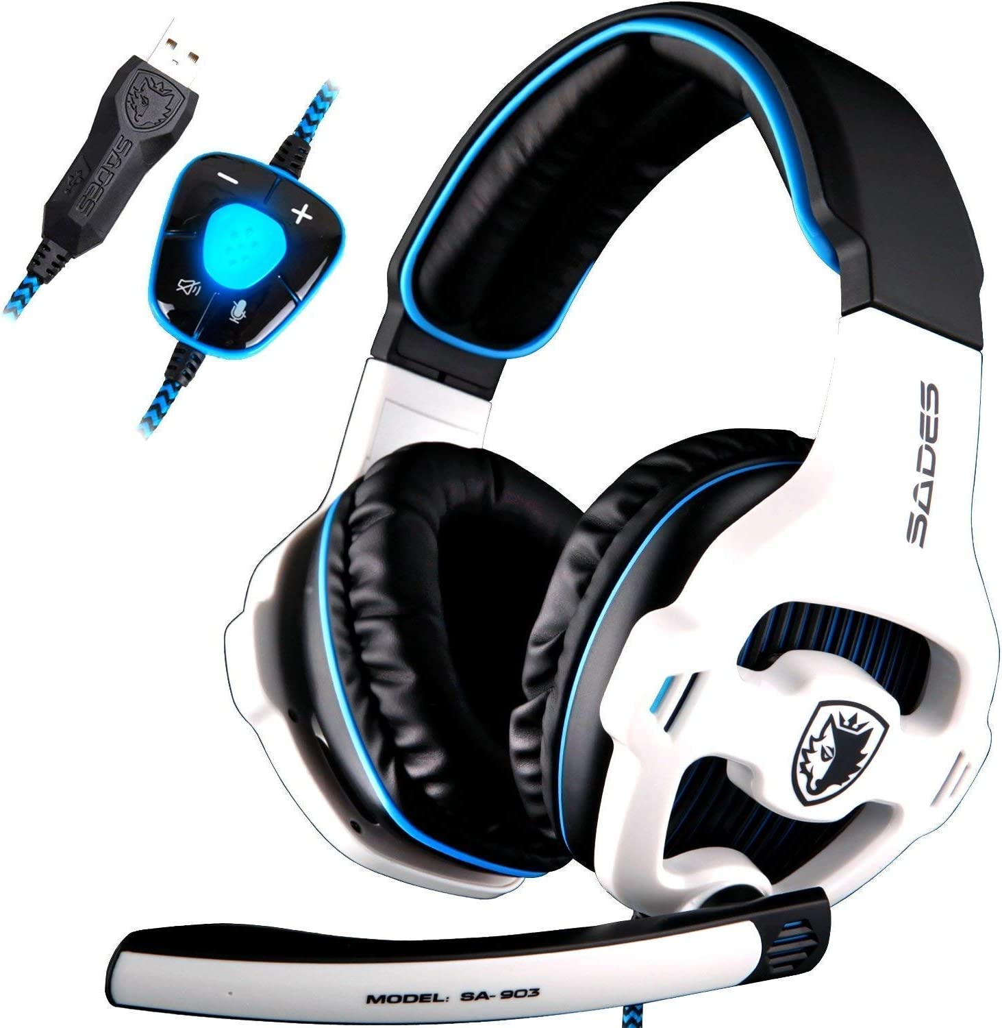 SADES SA903 gaming headset 7.1 virtual surround sound USB gaming con microfono noise cancelling gaming cuffie intelligente luce LED per PC portatile Mac (white)