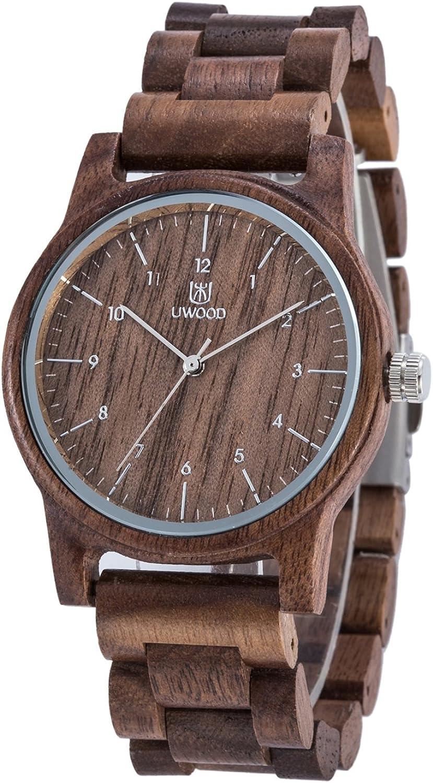 Reloj Madera Hombre, MUJUZE Natural De Madera del Reloj De Cuero Reloj Único Texturas