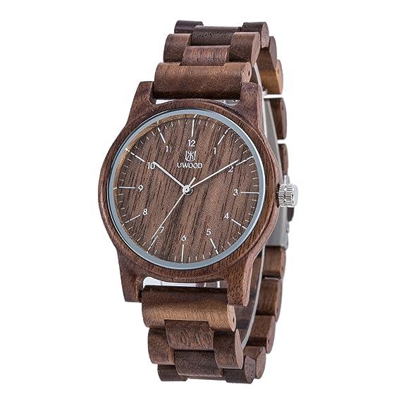 Uwood – Reloj de madera de nogal, retro, casual, reloj de cuarzo de