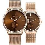 Par de relojes de cuarzo para hombre y mujer, correa de malla de acero inoxidable, relojes de moda
