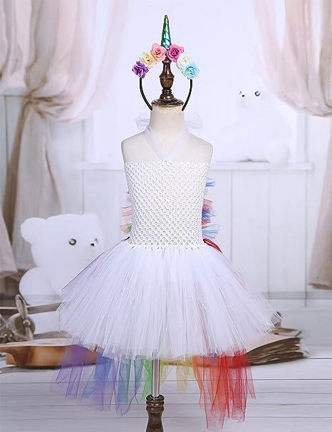 ... Enfant Fille Justaucorps Robe de Ballet Danse Baptême   Serre-tête  Licorne Jupe Asymétrique Arc-en-Ciel Fille Tenue Carnaval Fête Déguisement  2-7 Ans  ... 3cdb0709b66