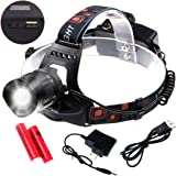 LED Headlamp - Siensync Super Bright Waterproof 4 Modes Headlight, Flashlight Torch for Outdoor Riding, Night Fishing, Hiking, Camping