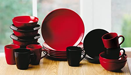24 Piece Café Bistro Black/Red Dinner Set & 24 Piece Café Bistro Black/Red Dinner Set: Amazon.co.uk: Kitchen u0026 Home