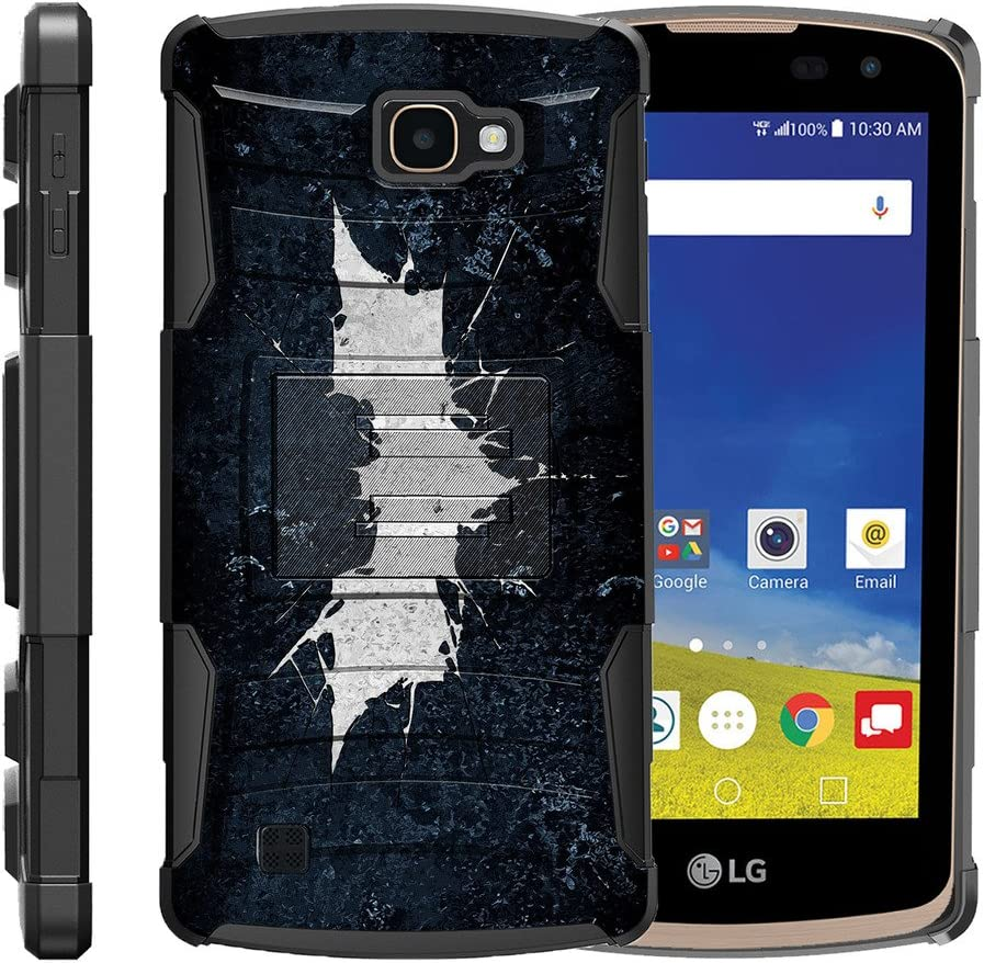 TurtleArmor | Compatible with LG K4 Case | Optimus Zone 3 | LG Spree | LG Rebel [Hyper Shock] Hybrid Dual Layer Armor Holster Belt Clip Case Kickstand - Bat Signal