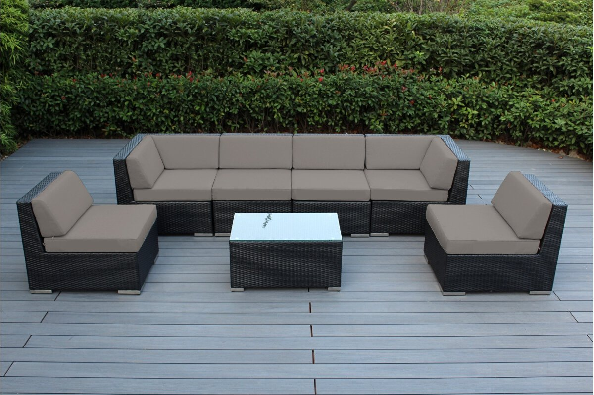Exceptionnel Ohana 7 Piece Outdoor Patio Furniture Sectional Conversation Set, Black  Wicker With Sunbrella Rain Taupe Cushions   No Assembly With Free Patio  Cover