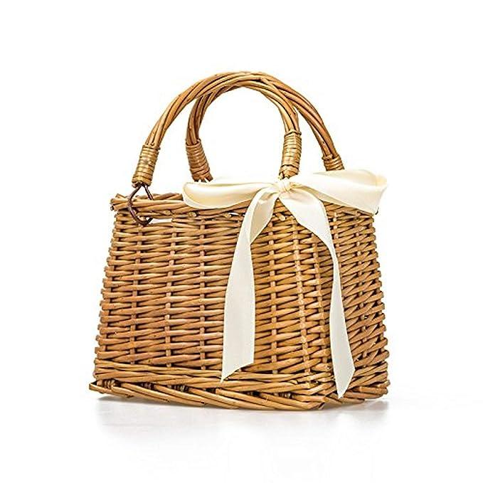 1950s Handbags, Purses, and Evening Bag Styles Natural Hand-woven Rectangular Wicker Handbag Basket Purse Retro Summer Women Straw Tote (Rectangular Khaki) $29.99 AT vintagedancer.com