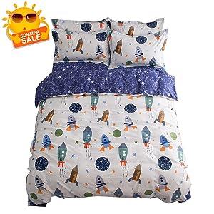 BuLuTu Space Rocket Print Boys Duvet Cover Twin Cotton White Blue Universe Adventure Theme Star Kids Girls Bedding Sets,Astronomy 3 Pieces Boy Bedding with 2 Pillow Shams,No Comforter