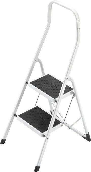 Hailo 4312-001 Taburete de acero con 2 peldaños y estribo de seguridad extra alto de 50 cm, Blanco, un tamaño: Amazon.es: Bricolaje y herramientas