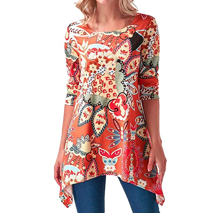 Túnica para Mujer de Moda, Talla Grande Cuello Redondo SunGren Dobladillo tiburón Impreso Camiseta de