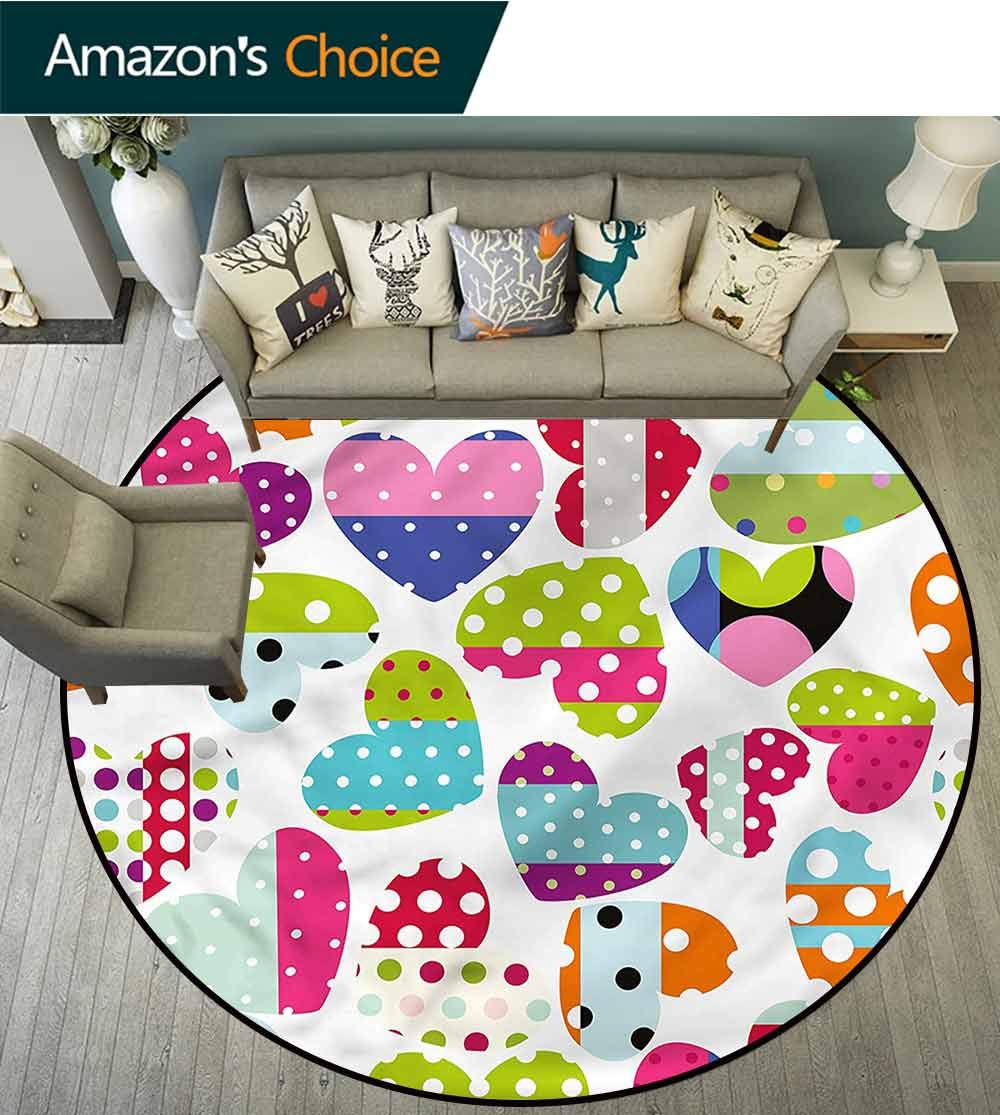Colorful Swivel Chair Non-Slip Mats Heart Patches and Dots Polyester Rug Diameter-59 by Philip C. Williams