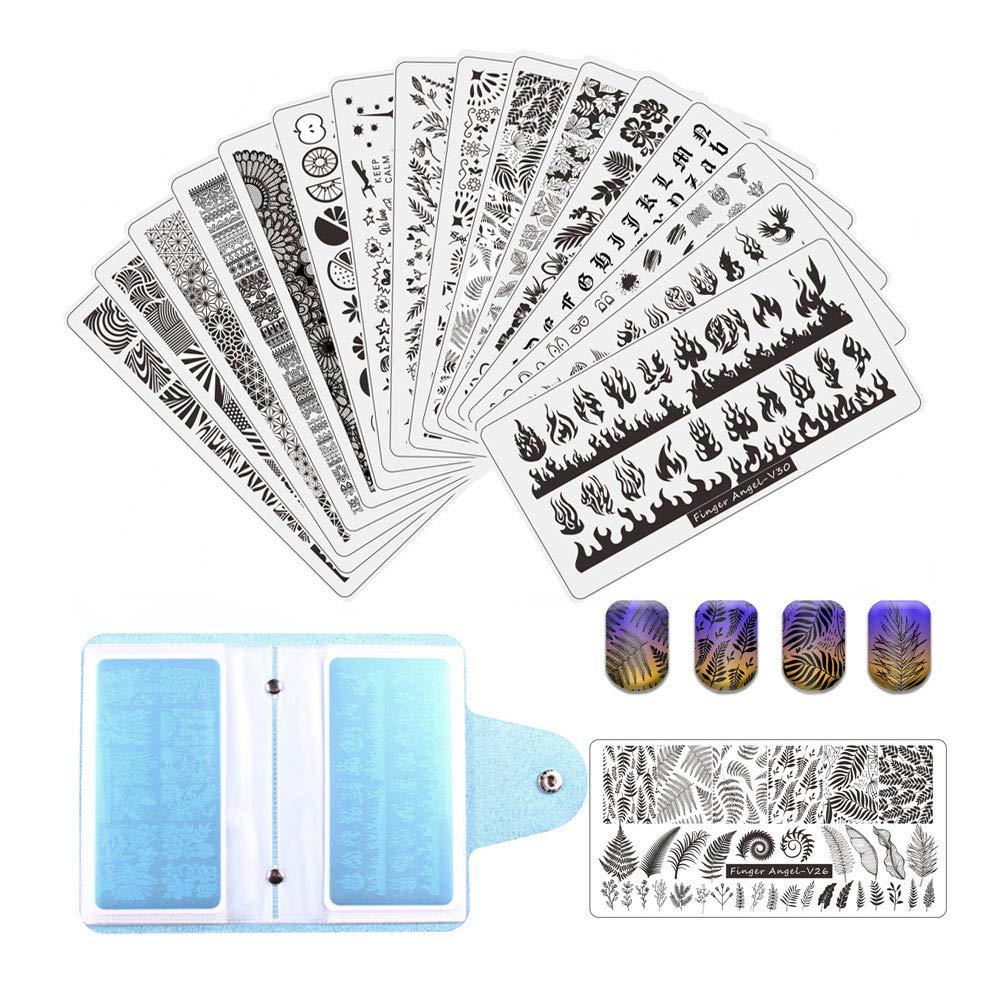 FingerAngel 21Pcs Nail Stamp Plate Set 16Pcs Mix Design Stamping nail Art Plate + 2Nail Stamper + 2Scraper+1Pcs Case Nails Art Stamping Plate Scraper Stamper Set Leaves Flowers Nail plate V17-32