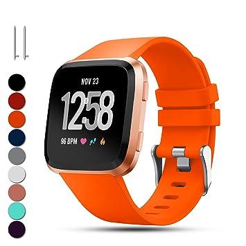 Bracelet de rechange Feskio pour Fitbit Versa - Bracelet réglable de rechange souple en silicone pour