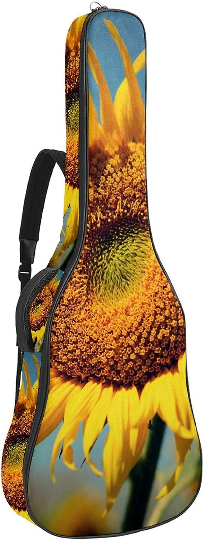 Bolsa de guitarra acústica de 42,9 pulgadas, bolsa impermeable para guitarra, mochila suave para guitarra, bolsa para guitarra acústica clásica Campo de girasoles 42.9x16.9x4.7 in