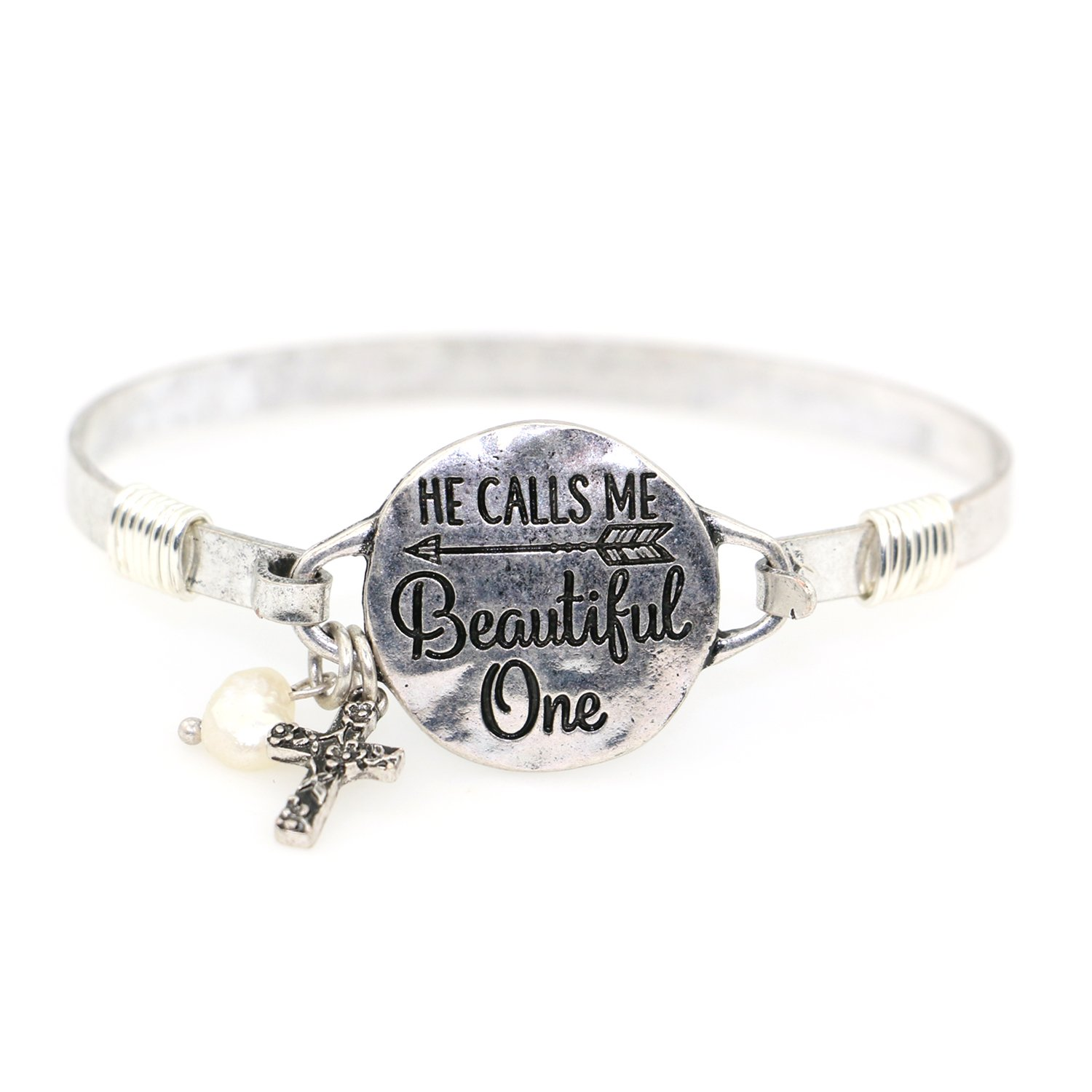 "Wonderent ""He calls me Beautiful One"" Beautiful Christian Bangle Bracelet with Wire Design and Cross Charm and Pearl Bead (Silver Burnish)"
