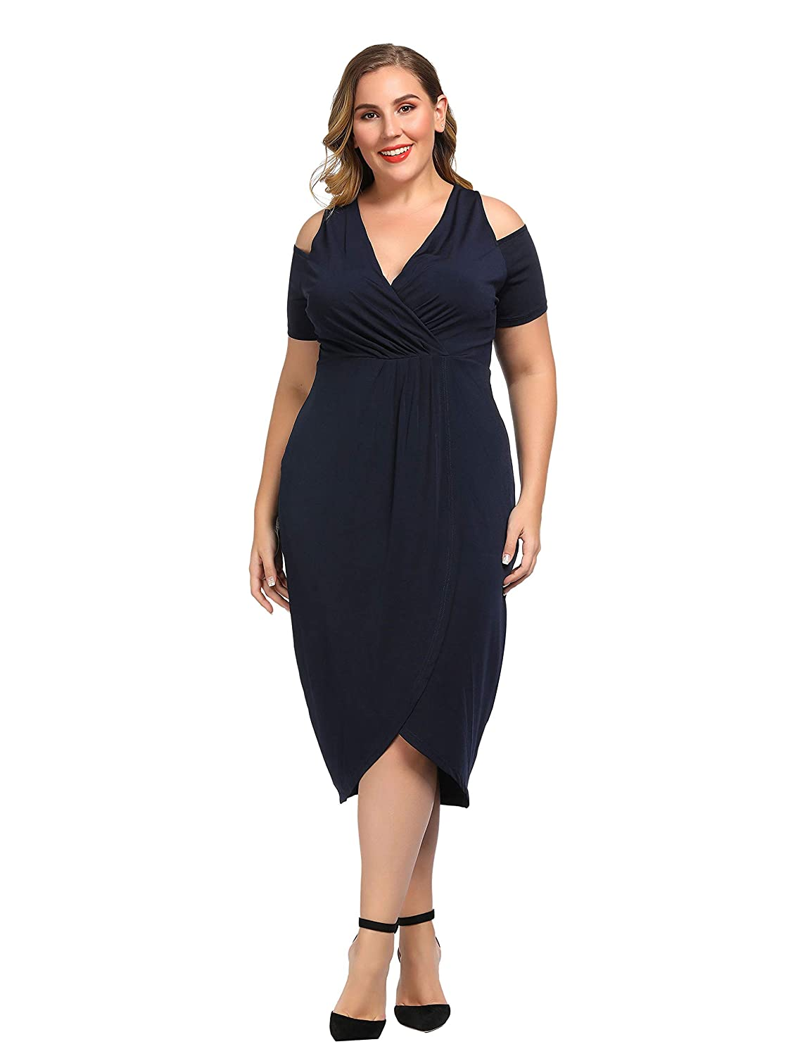 c7575841782 Chicwe Women s Plus Size Stretch Cold Shoulder Solid Dress with Slit - Calf Length  Casual Party Cocktail Dress at Amazon Women s Clothing store