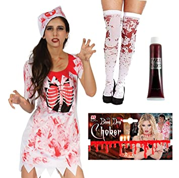 UK 10-14 womens ladies clothing accessory HALLOWEEN BLOOD STAINED STOCKINGS