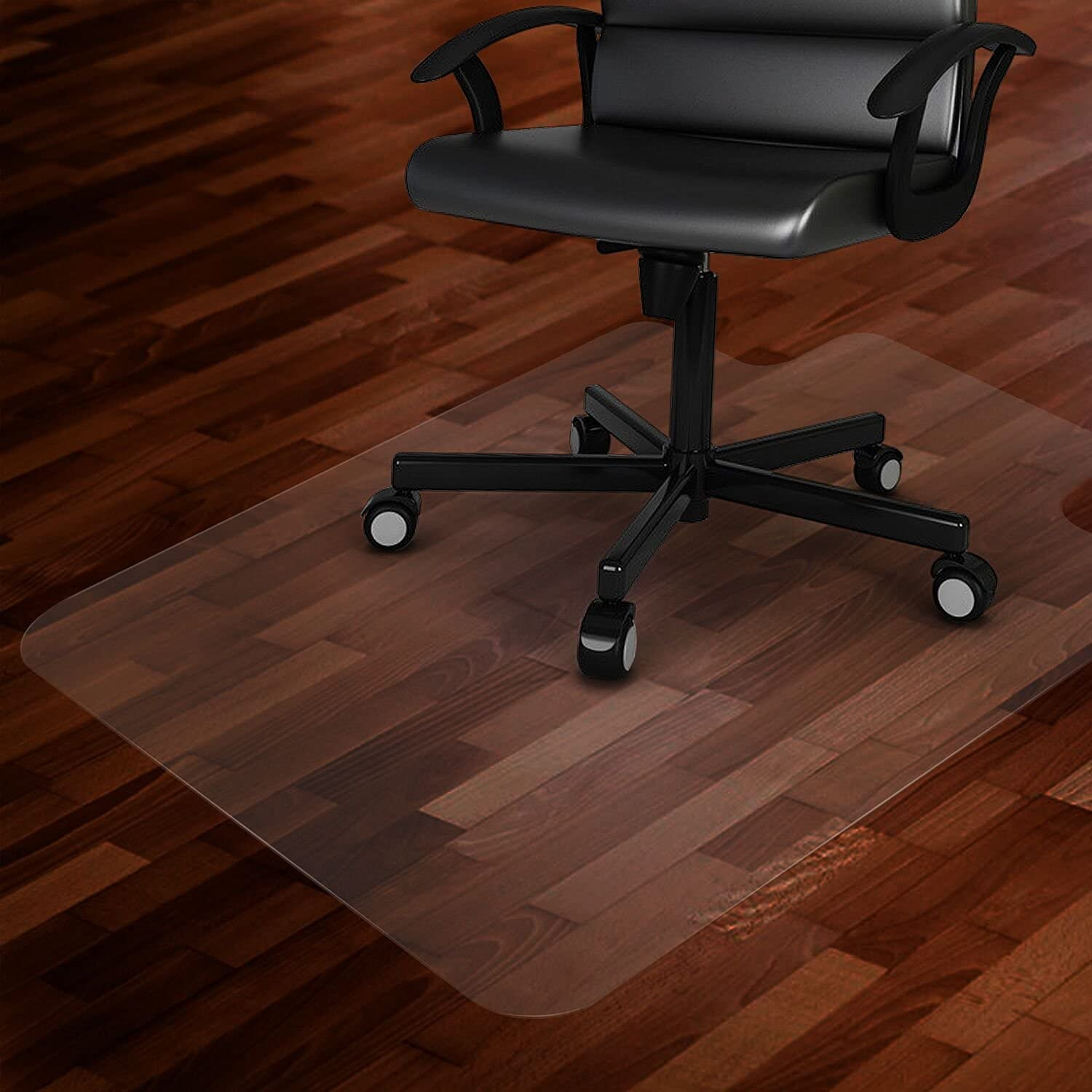 """Azadx Office Chair Mat for Hard Floors 36 X 48, Clear PVC Hardwood Floor Mat, Durable Plastic Floor Protector for Home and Office use (36"""" X 48"""" with Lip)"""