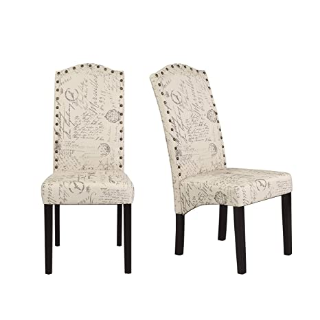 Peachy Merax Script Fabric Accent Chair Dining Room Chair With Solid Wood Legs Beige Set Of 2 Pabps2019 Chair Design Images Pabps2019Com