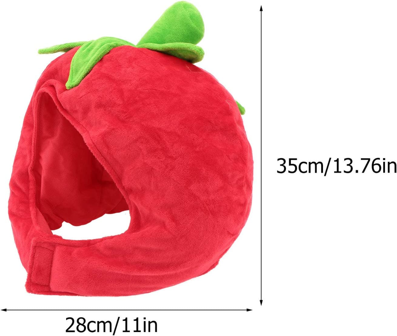 SOLUSTRE Funny Party Hat Tomato Shaped Costume Plush Novelty Fruits Headgear for Carnival Party Cosplay Hood Hat