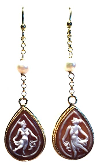 33af22a04 Amazon.com: Ballerina Teardrop Cameo Earrings French Wire Shell ...