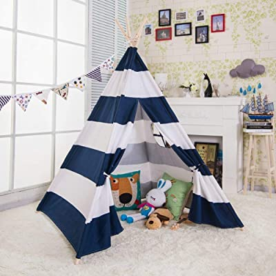 e-joy 6' Indoor Indian Playhouse Toy Teepee Play Tent for Kids Toddlers Canvas Teepee with Carry Case with Mat (Blue Stripe): Home & Kitchen