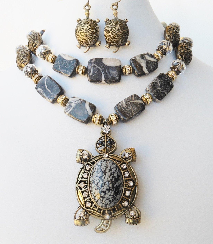 Gemstone Obsidian Jasper Turtle Statement Necklace Earrings Bracelet One of a Kind