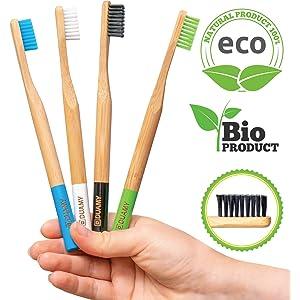DUAMY Cepillos de Dientes de Bambú Ecológicos, 100% Orgánicos, Biodegradables, Naturales y