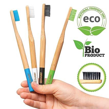 Cepillos de dientes de Bambú Ecológicos, 100% Orgánicos, Biodegradables, Naturales y con cerdas de carbón suaves