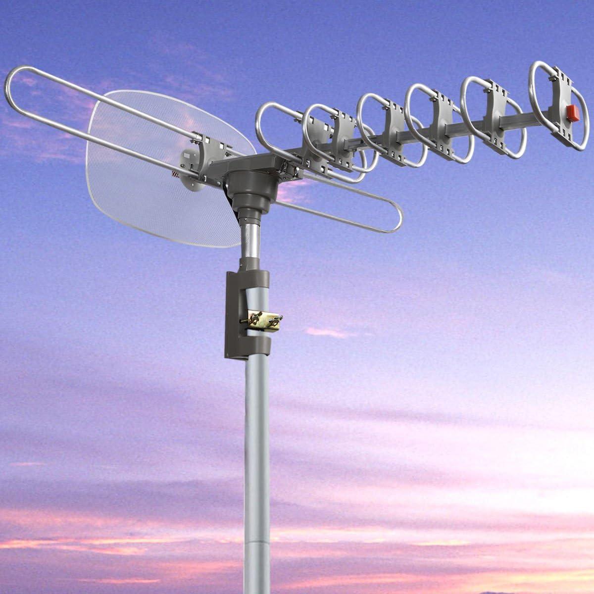 Al aire libre Digital antena amplificada 360 rotación TV HDTV ...