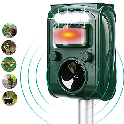 FAYINWBO Solar Outdoor Animal Repeller, Motion Sensor Alarm and Flashing,  expelling Raccoons, Rabbits, Birds, Squirrels, Cats, Dogs, etc  Protected