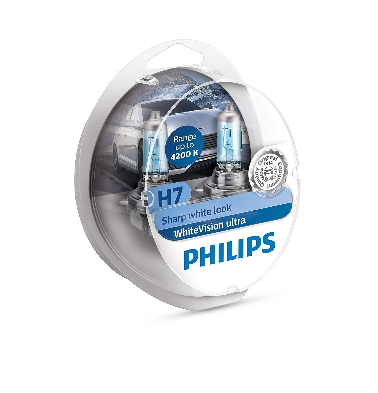 Philips WhiteVision bombilla para faros delanteros de coches 12972WVUSM - Bombilla para coches (H7, 55 W, Halógeno, Luces largas, Luces cortas, PX26d, ...