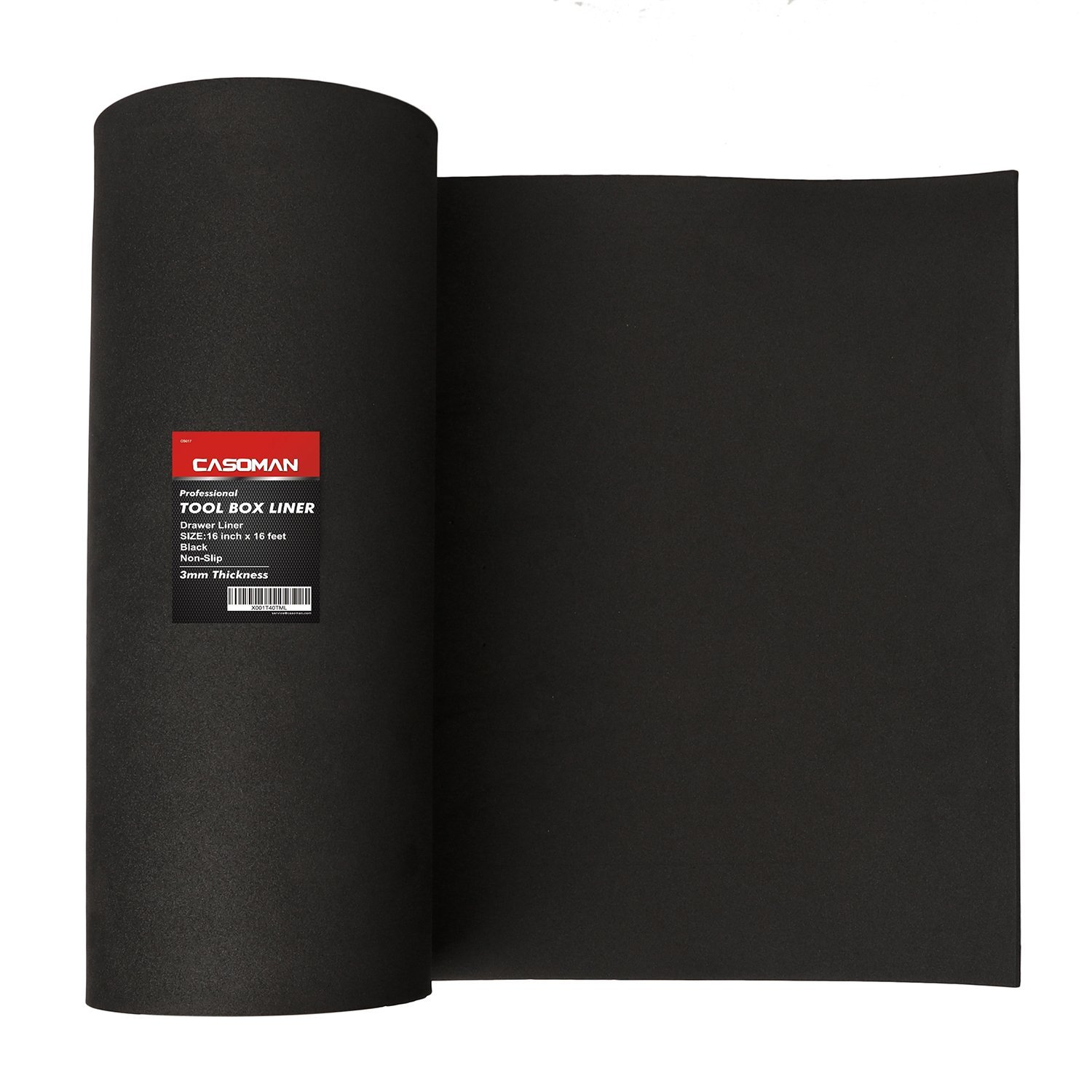 CASOMAN Professional Tool Box Liner and Drawer Liner - 16 inch(wide) x 16 feet (long), Non-Slip, Black, 3mm Thickness (1/8'' thickness)