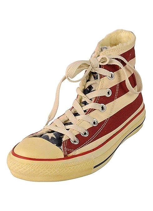 5413f318a89e8 Converse con bandiera americana e pelliccia (42)  Amazon.it  Scarpe ...