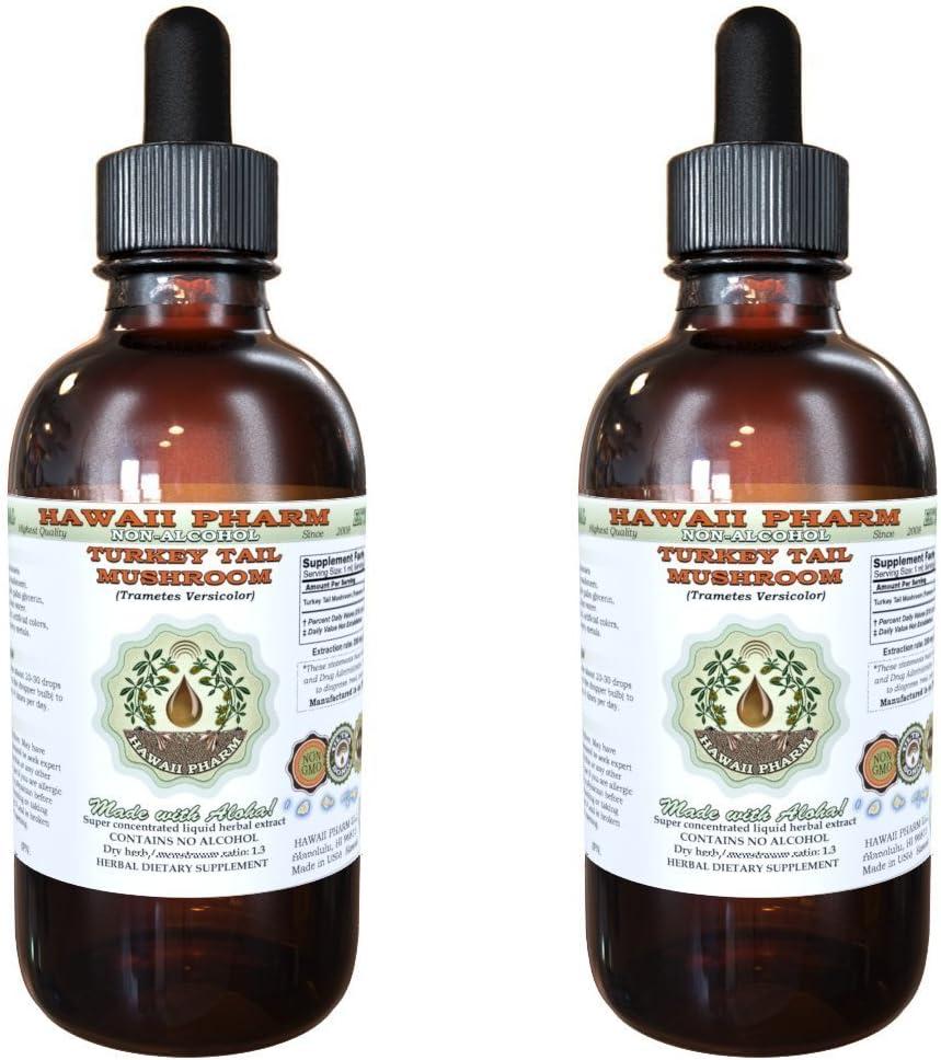 Turkey Tail Mushroom Alcohol-FREE Liquid Extract, Turkey Tail Mushroom Trametes Versicolor Dried Mushroom Glycerite Herbal Supplement 2×4 oz