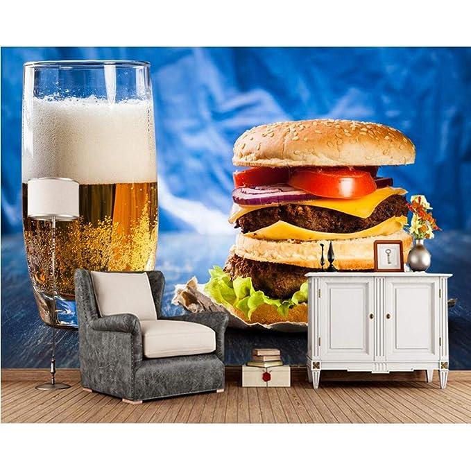 Xbwy Cerveza Hamburguesa Vidrio Comida Foto Papel Tapiz 3D, Tienda ...