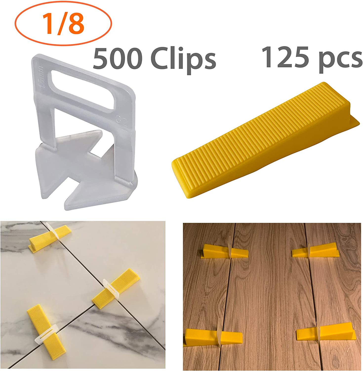 Lippage free tile and stone installation for PRO and DIY 1//8 Inch Tile Leveling Clips Tiles Leveler Spacers 500-Piece Leveling Spacer System