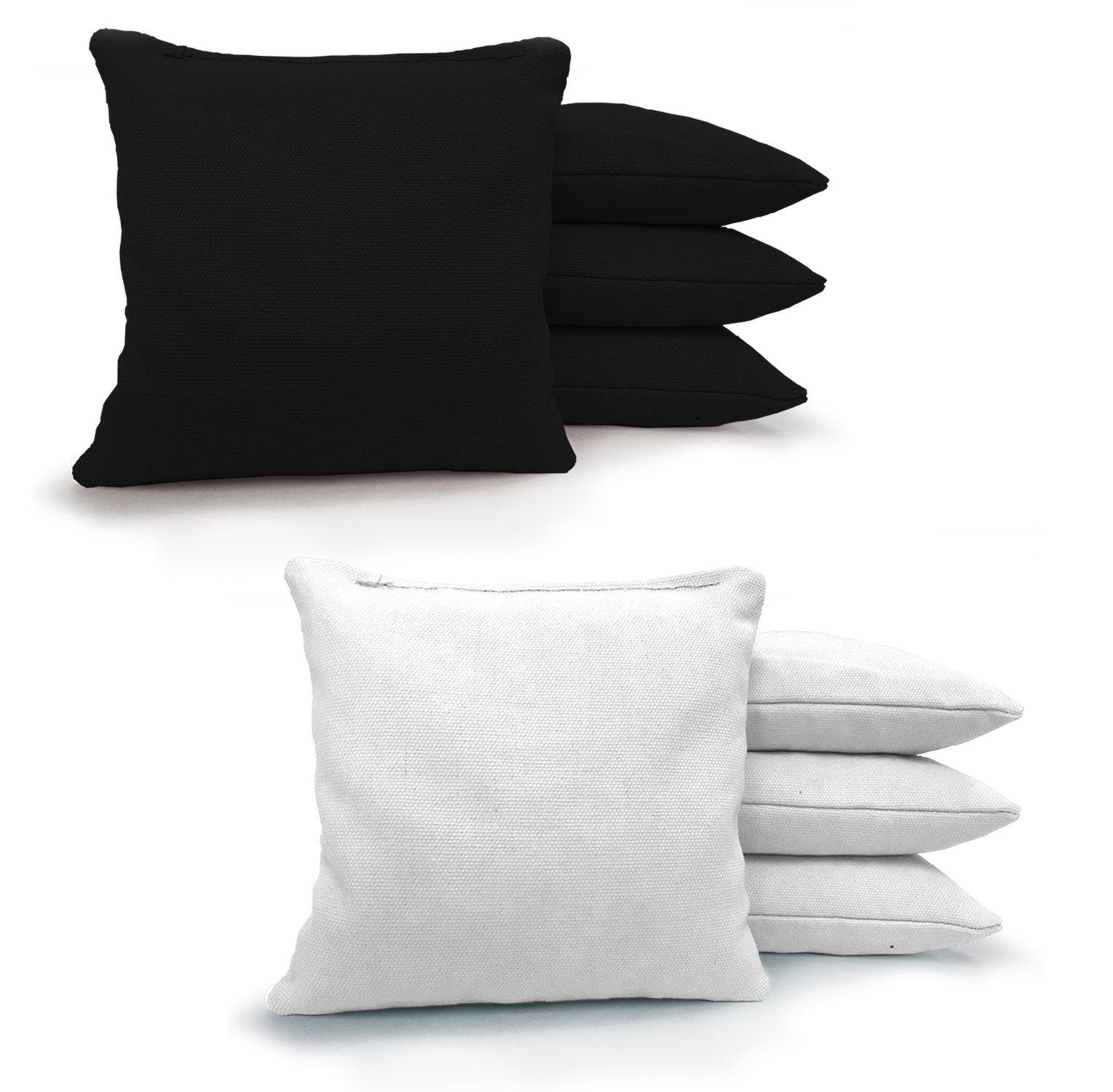 Johnson Enterprises, LLC 8 Standard Corn Filled Regulation Duck Cloth Cornhole Bags! 17 Colors (You Pick)!! (Black/White)