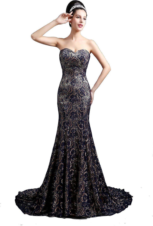 Babyonline® Damen Lang Trägerlos Mit Applikation Lace Partykleider Abendkleid Cocktailkleider