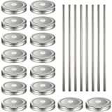 16 Pack Regular Mouth Lids with 8 Packs 18/8 Stainless Steel Straws Leak Proof Secure Glass Jar Lids Storage Solid Caps (Silv