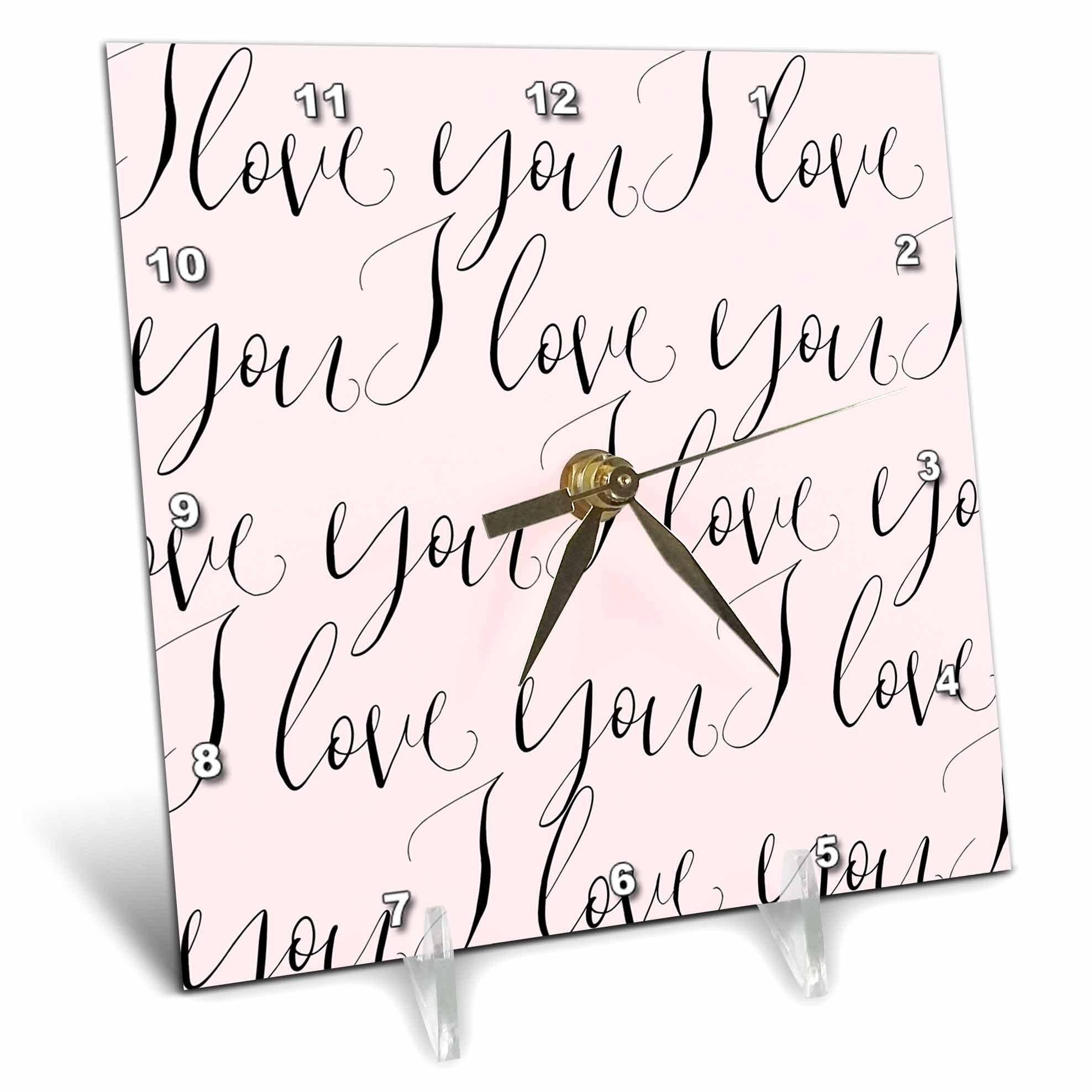 3dRose PS Inspiration - Image of Pink Black I Love You - 6x6 Desk Clock (dc_280698_1)