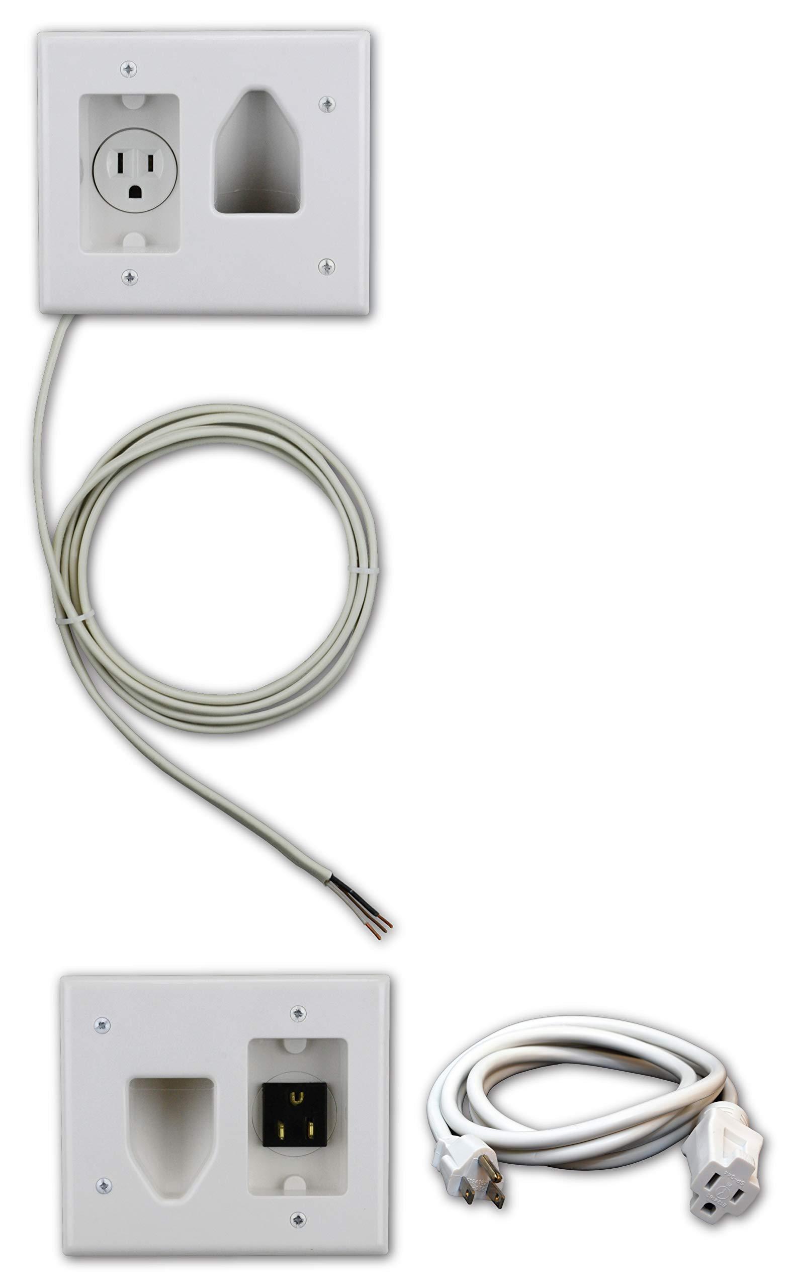 Datacomm Electronics 50-3323-WH-KIT Flat Panel TV Cable Organizer Kit with Power Solution - White by Datacomm Electronics